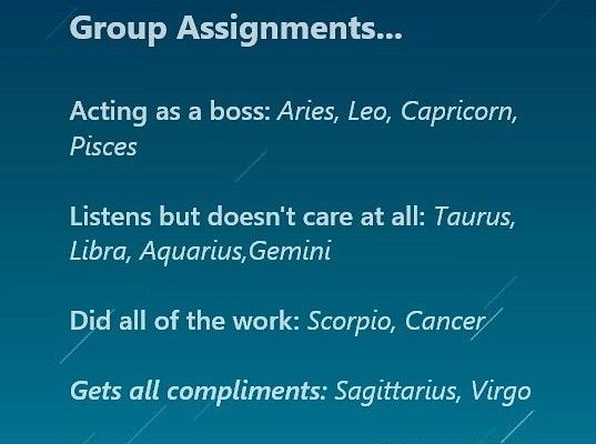 Horoscope Signs and Group Assignments Funny