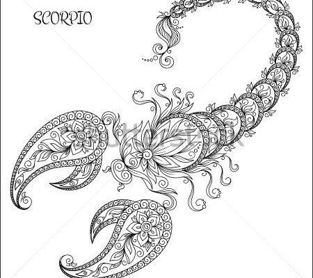 Pattern for coloring book. Hand drawn line flowers art of zodiac Scorpio. Horoscope symbol…