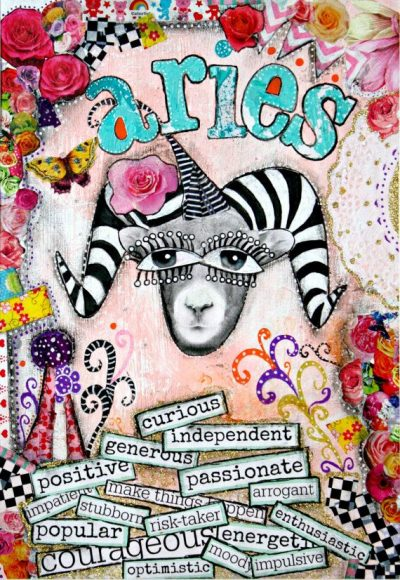 Aries art, Aries zodiac sign, horoscope art, mixed media collage art, pink and turquoise