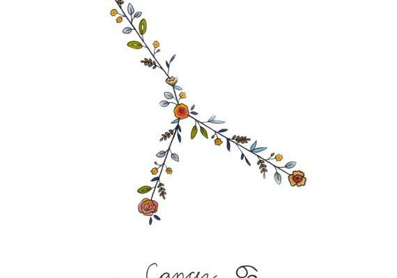 Zodiac CANCER Floral Constellation Print Cancer Zodiac