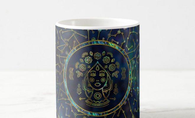 Virgo Zodiac Gold Abalone on Constellation Coffee Mug