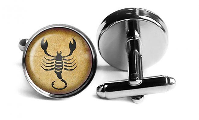 Zodiac Symbol Astrology Scorpio Rhodium Silver Cufflinks