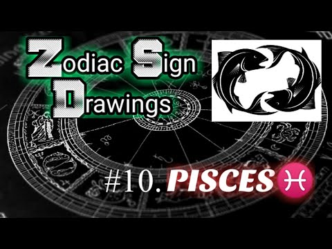 ZODIAC SIGNS SERIES DRAWINGS / #10. PISCES / FREE HAND DRAWING / FOR ALL ZODIAC BELIEVERS / A'AW ART