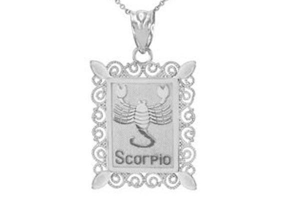 White Gold Scorpio Zodiac Sign Filigree Square Pendant Necklace
