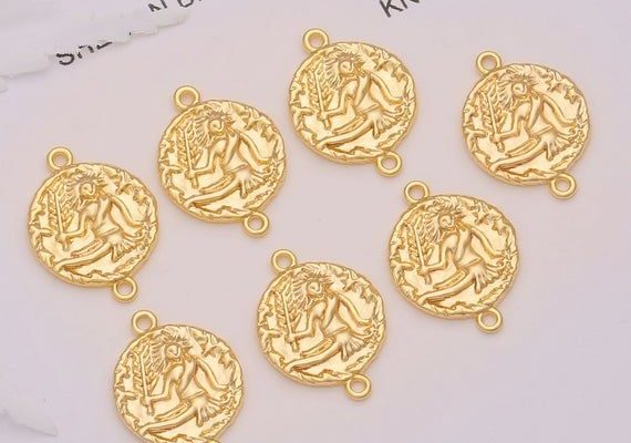 18k Gold Plated Horoscope Charms Connectors Links,Virgo Zodiac Horoscope Sign Constellation Coin Med