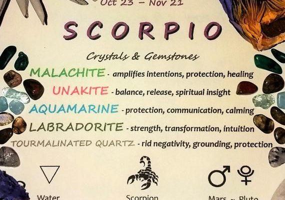 SCORPIO Zodiac Crystal Roller Bottle – Scorpio Gift Astrology Sign Gemstones for Essential Oils Octo