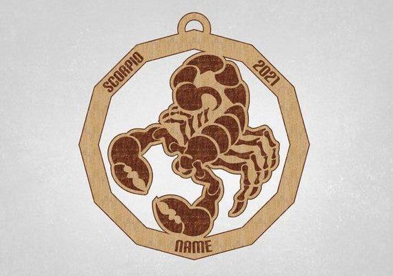 Scorpio Ornament, double side ornament, zodiac ornament, gift for him, gift for her, Scorpio Zodiac