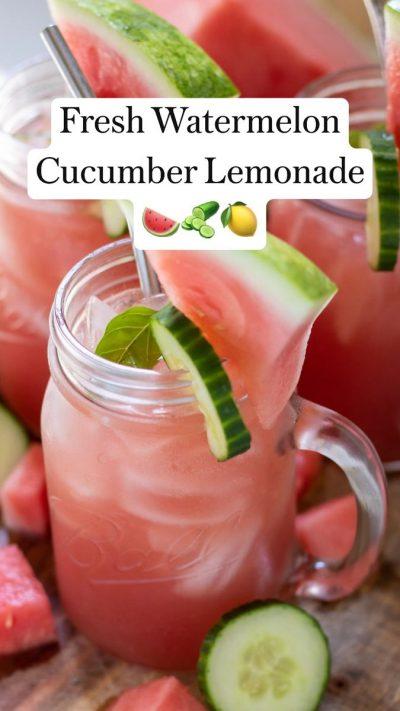 Watermelon Cucumber Basil Lemonade