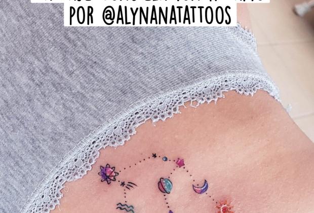 Tatuaje Constelación Acuario por @alynanatattoos