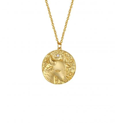 Taurus Zodiac Double Sided Coin Pendant Gold and Crystal Necklace – Taurus