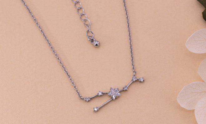 Silver Plated Taurus Zodiac Constellation Sign Earrings & Necklace Set – Necklace