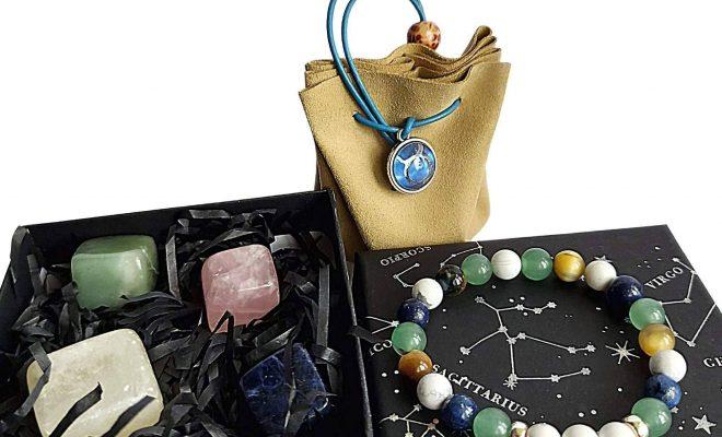 Taurus Zodiac Crystals Gift Set | Birthday Gift – Stone+Pouch+Bracelet