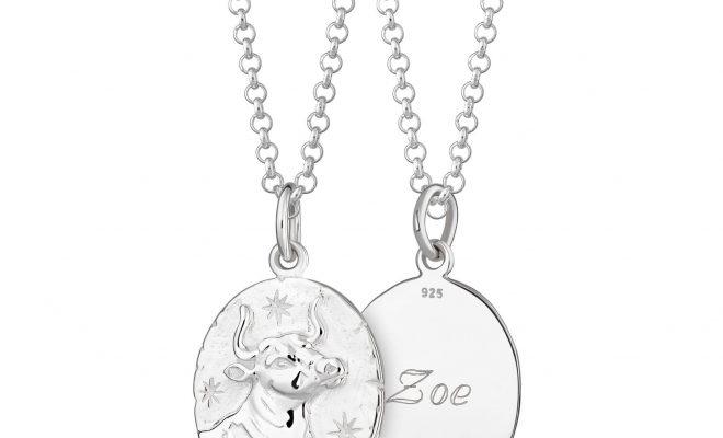 Engraved Silver Taurus Zodiac Necklace – Long: 61cm (+£7)