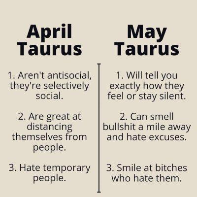 April Taurus & May Taurus