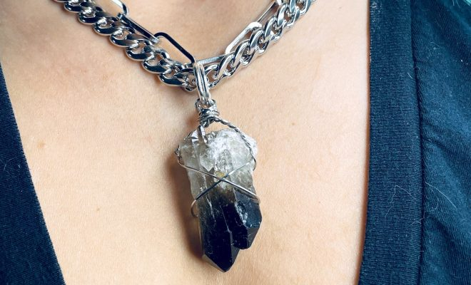 'B**** Don't Kill My Vibe' Giant Smoky Quartz Stainless Steel Chonk Necklace