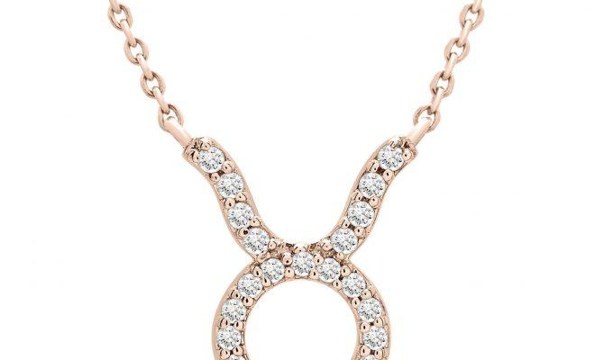 Taurus Zodiac Diamond Necklace – 14K Rose Gold