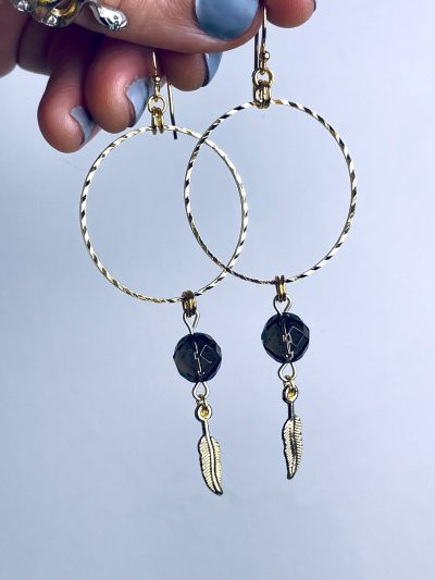 'B**** Don't Kill My Vibe' Smoky Quartz Gold Plated Stainless Steel Hoops with Feather Charms